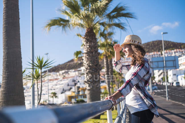 Young woman looking at view in Tenerife, Spain — Stock Photo