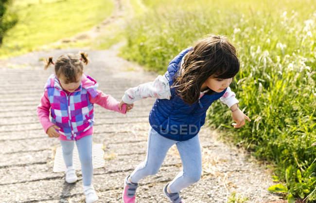 Дві сестри ходити рука об руку за контуром — стокове фото