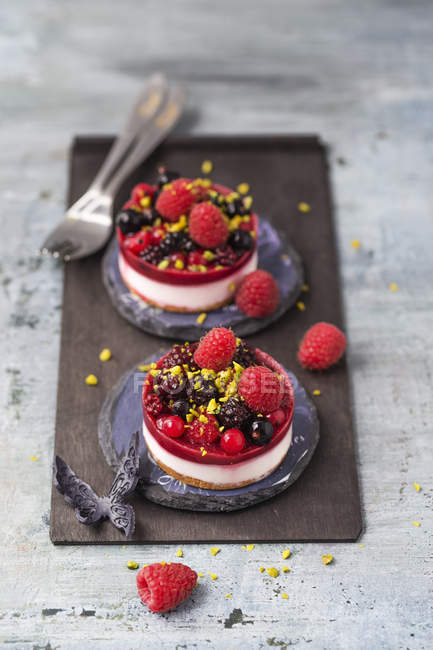Due mini torte fantasia con frutti di bosco — Foto stock