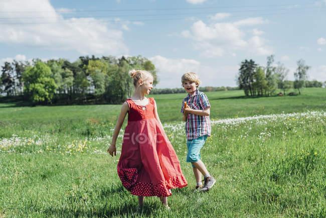 Menino e menina no prado — Fotografia de Stock