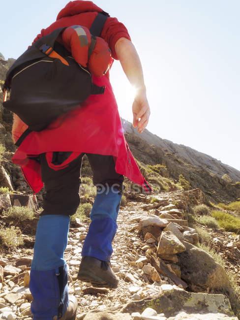 Espagne, Sierra de Gredos, Vue arrière de l'homme randonnée dans les montagnes en contre-jour — Photo de stock