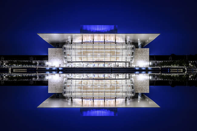 View to lighted National Opera at night, Copenhagen, Denmark — Stock Photo