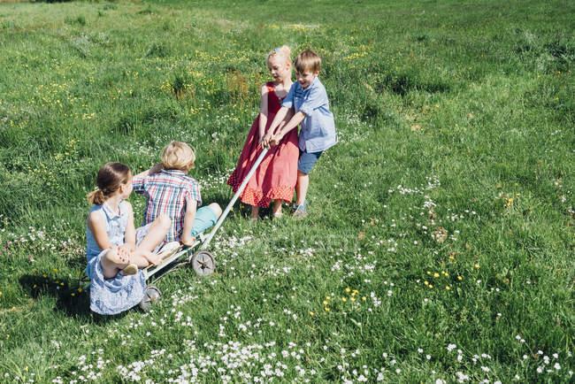 Дітей, що грають в лузі — стокове фото
