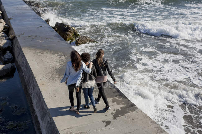 Three young women walking on breakwater at the sea, rear view — Stock Photo
