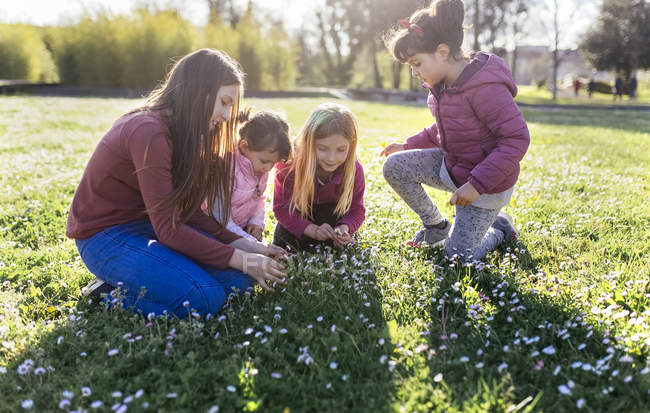 Little girls on green meadow picking daisies — Stock Photo