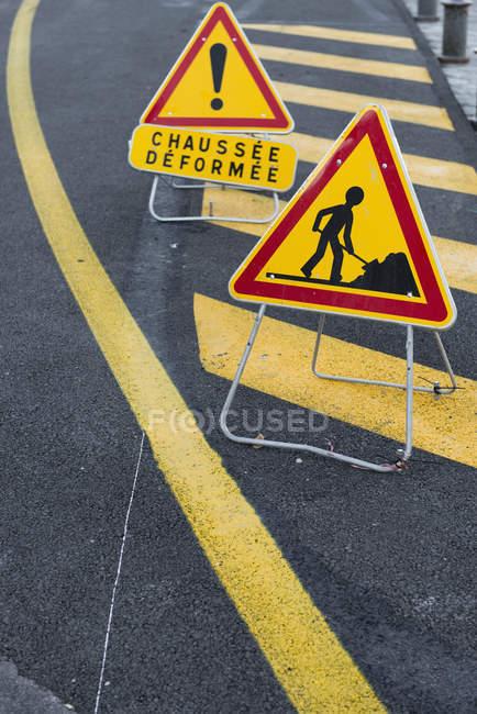 France, Nizza, construction site signs — Stock Photo