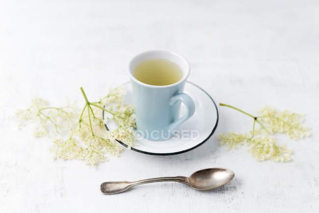Closeup view of elderflower tea cup and flowers — Stock Photo