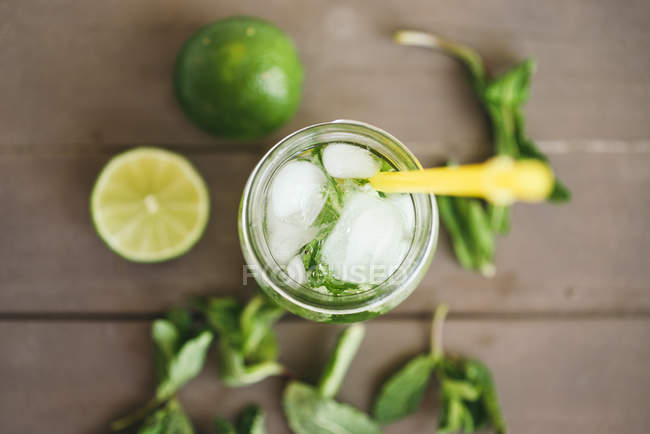 Top view of Fresh Mojito on table — Stock Photo