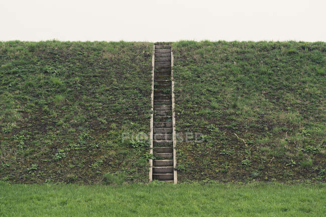 Flood protection, dam and steps during daytime — Stock Photo