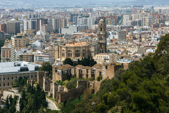 Spain, Andalusia, Malaga, Spain, View of Malaga cityscape with cathedral and Alcazar — Stock Photo