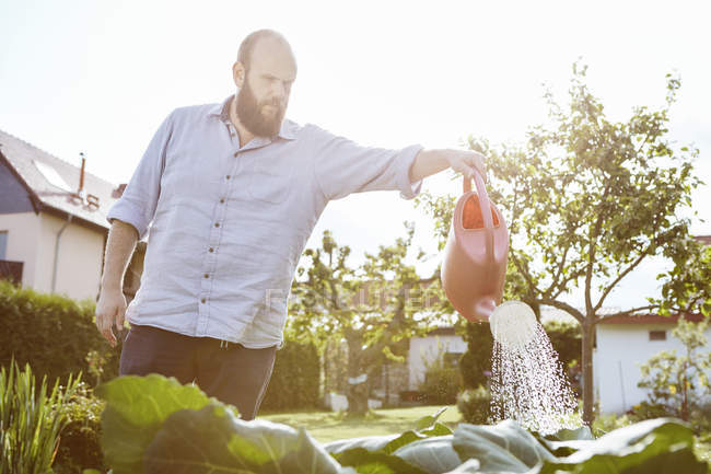 Young man working in garden, watering with watering can — Stock Photo