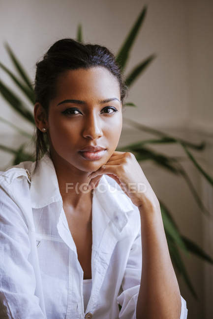 Portrait of mixed race young woman — Stock Photo