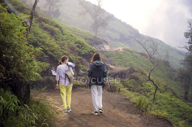 Vista posteriore di giovane donna che cammina nella natura — Foto stock