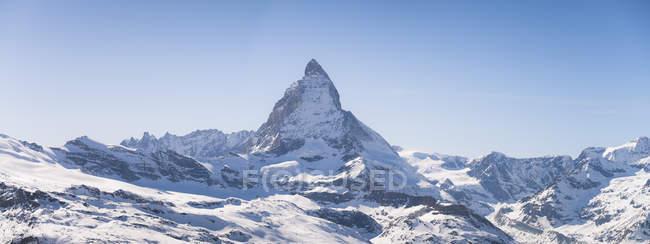 Switzerland, Zermatt, Pennine Alps, view to Matterhorn, panorama — Stock Photo