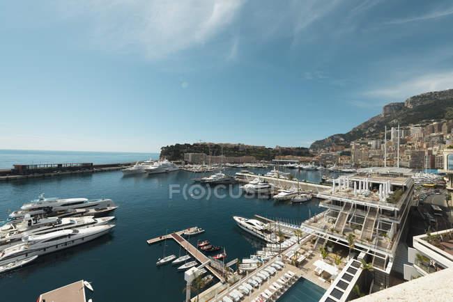 Monaco, Monte Carlo, Marina vista aerea nella giornata di sole — Foto stock