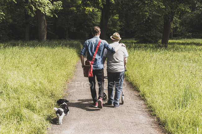 Back view of grandfather walking with grandson and dog in nature — Stock Photo