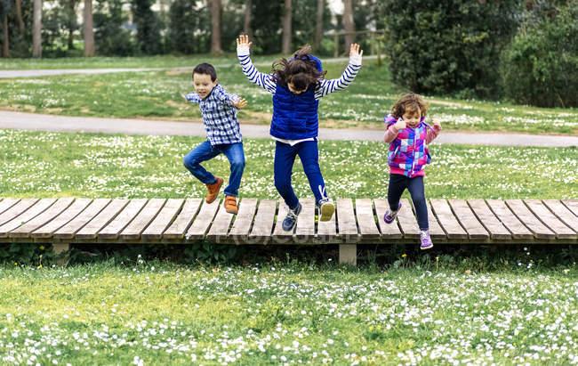 Bambini allegri che saltano dal lungomare nel parco — Foto stock