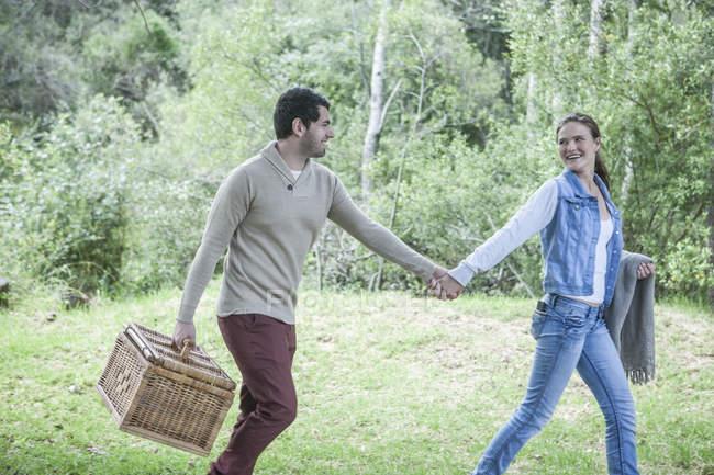 Junges Paar mit Picknick-Korb gehen Hand in Hand in der Natur — Stockfoto