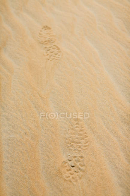 UAE, Rub' al Khali, shoe prints in the desert sand — Stock Photo