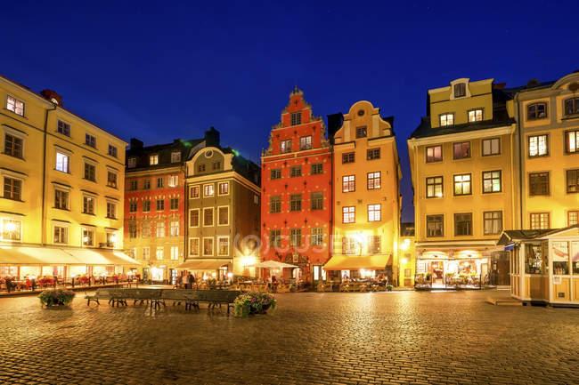 Svezia, Stoccolma, vista a Gamla Stan la sera — Foto stock