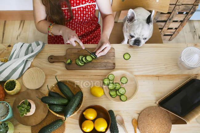 Bouledogue français regarder femme coupe concombre sur la table — Photo de stock