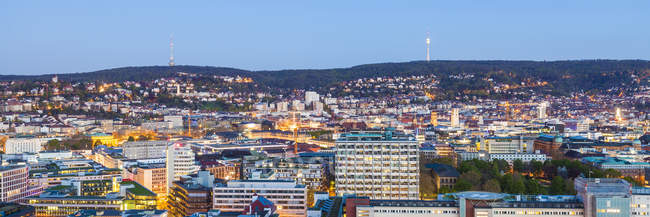 Stuttgart cityscape with TV tower in the evening, blue hour, Germany — Stock Photo