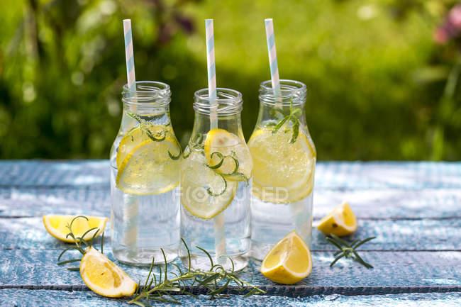 Fetta di limone e rosmarino in bottiglie d'acqua, cannucce — Foto stock