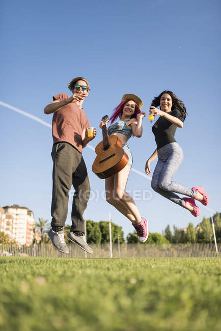 Friends having fun and jumping for joy, girl with guitar — Stock Photo