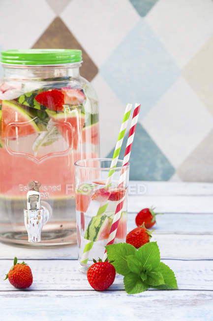 Detox water with watermelon — Stock Photo