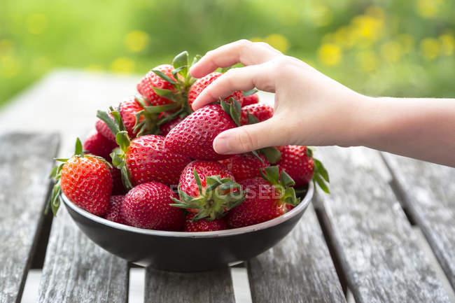 Niño mano tomando fresa - foto de stock