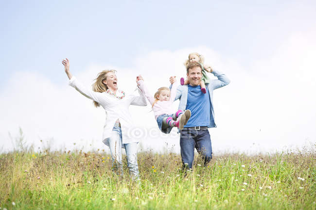 Carefree family in meadow — Stock Photo