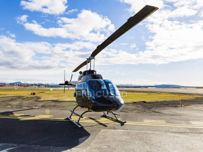 Iceland, Reykjavik, a helicopter on landing point during daytime — Stock Photo