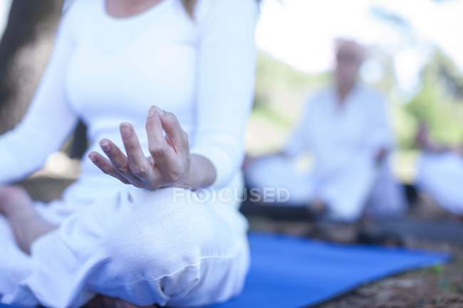 Cropped image of woman practicing yoga outdoors — Stock Photo