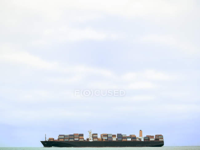 Loaded container ship near Cuxhaven, North Sea, Germany — Stock Photo