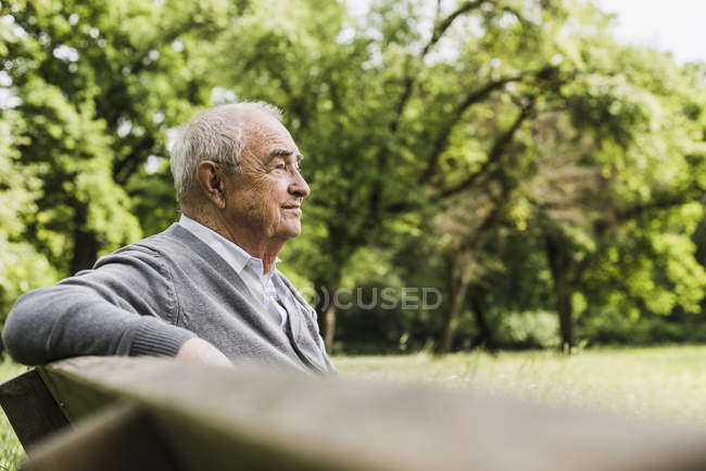Smiling senior man sitting on a bench in nature — Stock Photo