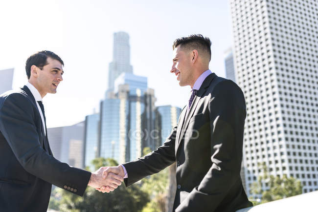 Two businessmen shaking hands, cityscape view on background — Stock Photo