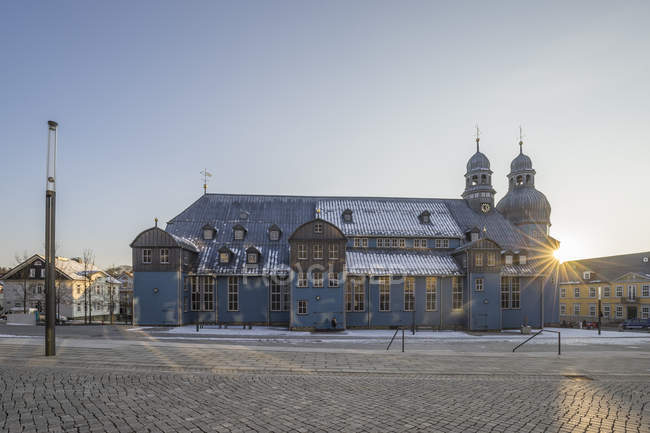 Germany, Clausthal-Zellerfeld, market church in the evening — Stock Photo