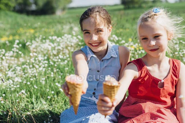 Mädchen auf der Wiese halten Eis — Stockfoto