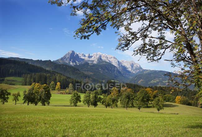 Österreich, Salzburger Land, Pongau, Werfenweng, Alm, Hochkönig im Hintergrund — Stockfoto