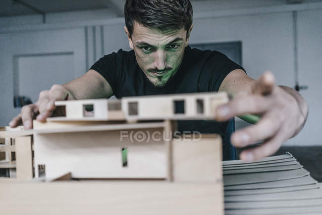 Close-up of Architect working on architectural model — Stock Photo
