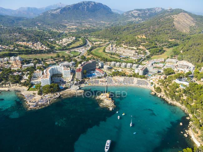Spagna, Maiorca, Veduta aerea della baia di Camp del Mar — Foto stock