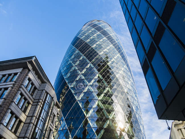 UK, London, City of London, view to 30 St Mary Axe at financial district — Stock Photo