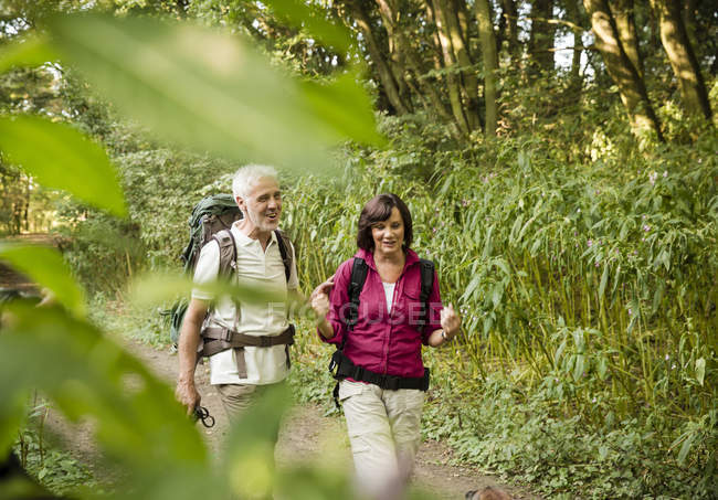 Senior couple hiking on a trail — Stock Photo