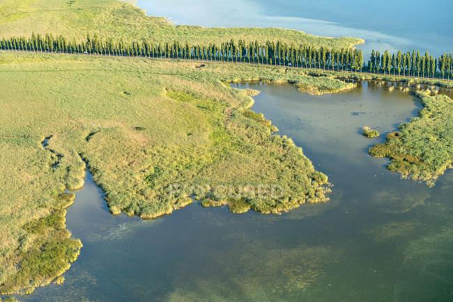 Germania, Lago di Costanza, Vista aerea, Reichenau Island, causeway a Wollmatinger Ried — Foto stock