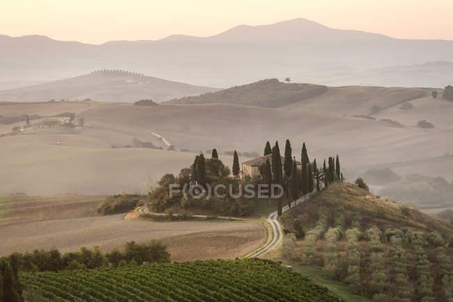 Itália, Toscana, Val d 'Orcia, vivenda perto de Pienza — Fotografia de Stock
