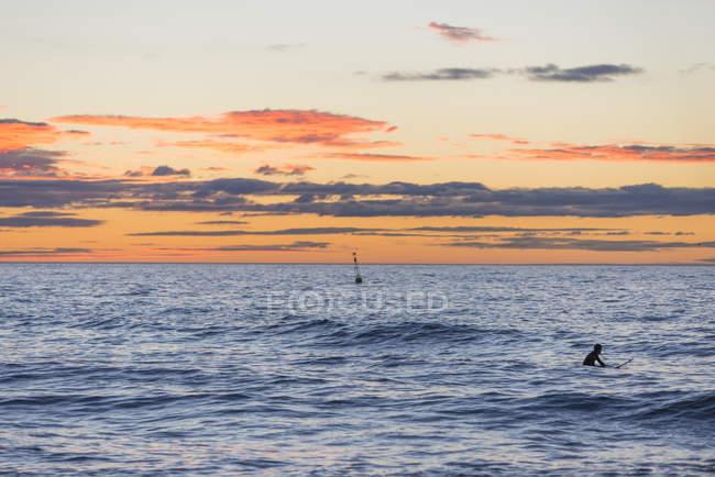 Surfer at sunrise swimming in ocean — Stock Photo