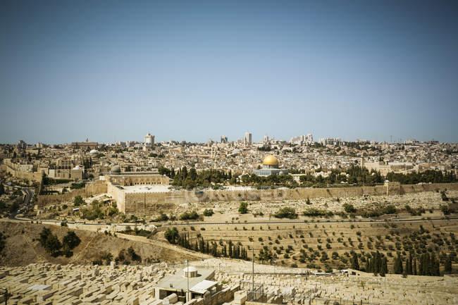 Paisagem urbana com a cúpula da rocha, Jerusalém, Israel — Fotografia de Stock