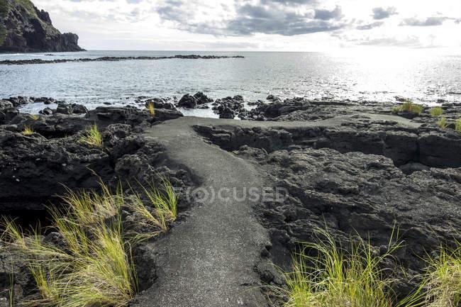 Portugal, Azores, Pico, lava coast and Atlantic Ocean — Stock Photo