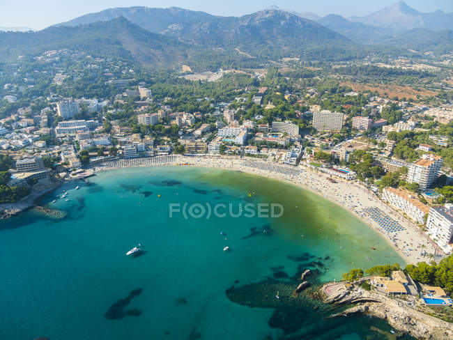 Spain, Mallorca, Aerial view of Peguera bay during daytime — Stock Photo