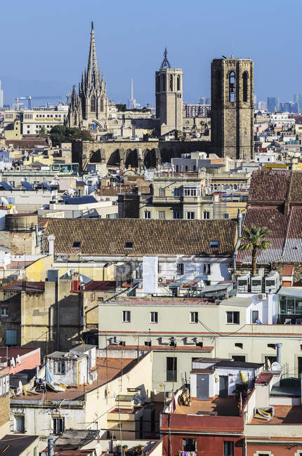 Spain, Barcelona cityscape in sunny daytime — Stock Photo